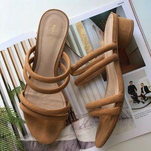 Mango tan suede like sandal round block heel 38